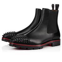 Роскошные дизайнерские Мужчины Ботильоны Red Bottom Дыня Заклепки Boots Black телячьей Rubber Lug Sole Mens вскользь Booty партии Свадебная обувь