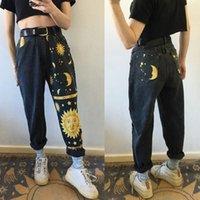 Bazhenova Yıldız Ay Baskılı Jeans Casual Kadınlar Gevşek Düz Kot Pantolon Yüksek Bel Kot Moda Streetwear T1899