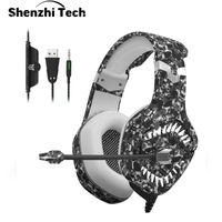 마이크 7.1 서라운드 사운드 스테레오 위장 노이즈 컴퓨터에 대한 취소와 2020 LED 라이트 게임 헤드셋 PS4 헤드폰 이상 귀