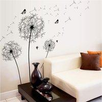[Zooyoo] Grande flor de dente-de-leão negro adesivos de parede decoração de casa sala de estar quarto mobiliário decalques de arte borboleta Murais 201203