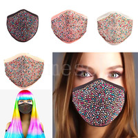 Chic Bling Bling Rhinestone Washable Face Masks for Women Fe...
