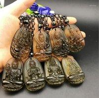 Acht Patron Saints Tierkreis Anhänger Obsidian Geburt Buddha Halskette1