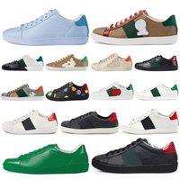 2021 Luxurys 디자이너 신발 남성 여성 운동화 캐주얼 신발 최고 품질의 뱀 Chaussures 가죽 스니커즈 에이스 꿀벌 자수 구두 G9i8 #