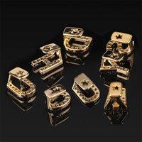 Золотой серебристый цвет замороженные A-Z пользовательские буквы Grillz Полный бриллиант зубы писем решеток зубной кепки хип-хоп зубные рот зубов металлов 127 U2
