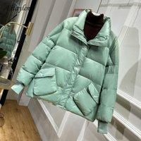 Fitaylor novo lado brilhante lateral branco pato para baixo jaqueta inverno mulheres soltas carrinho colar parkas mulheres mornas neve down outerwear1