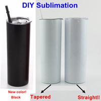 Sublimação Tumbler Diy DIY em linha reta copo de aço inoxidável de aço inoxidável encaixotel isolado copo de água bebendo cerveja de garrafa de água caneca yfab2301