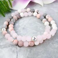 MG1078 Huile essentielle Bracelet Energy Set Lava Wrap Bracelet Rose Quarz Yoga Mala Bracelet rose Jasper Dainty bijoux en perles
