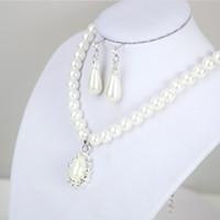 Nachahmung Perlen Anhänger Halskette Wassertropfenform Charm Ohrstecker Strass Silber Überzug Legierung Frauen Anzug 3 28lyb L2