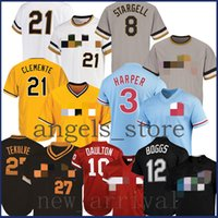 2020 3 Bryce Phillies Darren Harper Daulton Franco Dykstra Jersey 12 Wade Boggs Rays 21 Roberto Clemente Pirates 8 Willie Stargell