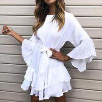 Повседневные платья Lipswag Sexy ruffles o-шеи летнее платье три четверти рукава женщин мини 2021 сплошной пляжный ремень Vestido1