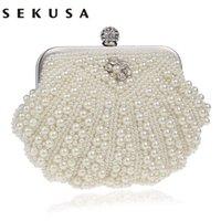 Sekusa 쉘 디자인 여성 가방 페르시 손수 만든 다이아몬드 찬 어깨 메신저 크리스탈 결혼식 저녁 가방 Y201224