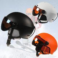Casques de ski Casque Casque Visière Hommes Femmes Snowboard Snowboard Skateboard Masque de sécurité Hiver Fleece Hotel
