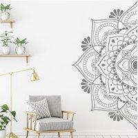 Beautiful Half Mandala Wall Sticker For Bedroom Datura Flowers Murals Self Sticking Wall Decals Home Decor Vinyl Stickers LC1469 201201