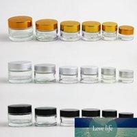 12 x 5g 10g 15g 20g 30g Traine Mini Crema Jarra de vidrio recipiente de vidrio transparente con gold negro tapa de plata embalaje cosmético