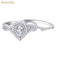 NewsHe 2 шт 925 серебряные обручальные кольца для женщин обручальное кольцо наборы 1.7Ct Груша каплевидной формы Циркон BR0829 201112