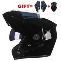 Yeni Motosiklet Kask Flip Up Kasklar Erkek Kadın Çift Visor Çift Lens Motor Bisiklet Motosiklet Dümen Casque Ücretsiz Hediye Eldiven Maskesi1