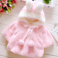 الرضع الوليد طفلة أرنب معطف فتاة الأطفال سترة مقنعين الكرتون الطفل الأطفال القطن سترة معطف الشتاء