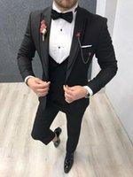 مخصص رفقاء زر واحد البدلات الرسمية العريس الذروة طية صدر السترة الرجال بذلات الزفاف / حفلة موسيقية / عشاء أفضل رجل السترة (سترة + سروال + التعادل + الصدرية) G43