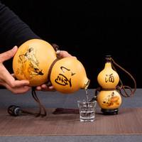 Natural Gourd Crafts Hecho a mano Licor Contenedor Decoraciones para el hogar Creativo Agua Botella Flagón Ilustración Obra de Madera Artesanía Chic Ornamentos 201125