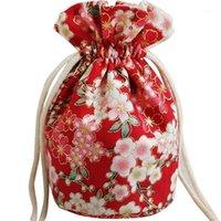 Presentförpackning Körsbärsblomningar Rund tygväska Kinesisk bomullslinne Drawstring Pouch Små smycken återanvändbara förpackningsväskor1