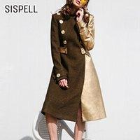 Miscele di lana da donna Sispell Elegante Patchwork Patchwork Cappotto Femminile Stand Collar Manica Lunga Vita alta Hit Color Colore Cappotti Donne Autunno Inverno 2