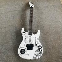 최고 품질의 저가 GYESP-0002 화이트 컬러 인격 패턴 솔리드 바디 블랙 하드웨어 커크 Hammett Ouija 6 Strings 일렉트릭 기타