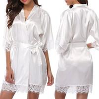 المرأة قصيرة الحرير العروس رداء مثير زفاف الملابس ثوب الدانتيل الحرير كيمونو البشكير الصيف العروسة نوم 2020