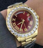 고급 손목 시계 41mm 골드 큰 다이아몬드 기계 남자 시계 레드 그린 화이트 블루 골드 자동 스테인레스 스틸 남자 시계 다이얼