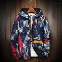 Casacos dos homens Kuyomens Camuflagem Jaqueta Homens Mulheres Plus Size Camo Capuz Windbreaker Canvas Parka Moda Streetwear1