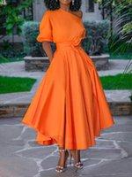 مصمم للمرأة فساتين عادية Soild اللون مع الزنانير نساء فساتين غير النظامية الملابس النسائية الفاخرة الكتف واحدة