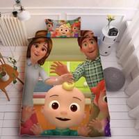 Kind Cocmalon JI 3D Druck Bett Bügelblatt Drei-teiliges Sets Kissenbezug + Bettblatt + Steppdecke Cover-Bettwäsche Jungen Mädchen Cocomelon Supplies