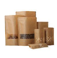 Крафт-бумага с матовым окном три слоя Оригинальный цвет, влагостойкий накладки упаковки для порошка / чай / рис 100 шт. Бесплатная доставка