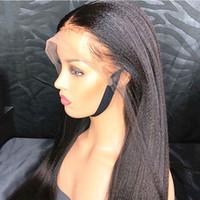Light Yaki прямые 13x6 кружева фронтальные волосы волосы парики бразильские итальянские YAKI парик 8-26 '' Remy шелковые вершины человеческих волос с эластичными полосами