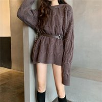 Осень / зима 2020 новый поворот ленивый стиль носить свободный средний свитер женская толстая футболка1