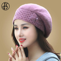 Wholesale-FS Winter Hats For Women Beanie Fur Knitted Caps Flower Gorro Double Layers Thermal Warm Snow Caps Berets Femme Hiver