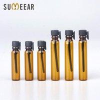 Atacado 100 pcs 1ml 2ml Óleos Essenciais Trial Pack Tubo de Perfume Garrafa Âmbar Vidro Essencial de óleo de perfume de óleo