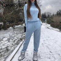 FeGeous Casual Céu Azul Esportes Terno Alto Collar Manga Longa Tecnologia Do Outono Inverno Mulheres Duas Peças Indoor Indoor 20201