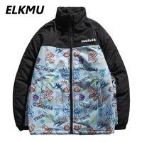 ELKMU Color Block Patchwork Parka Jackets Graffiti Print Cotton Thick Padded Jacket Coat Streetwear Harajuku Outwear Male HE469