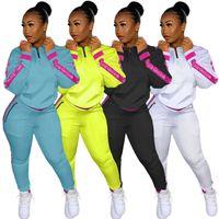 Mulheres Fall Sweatsuit Inverno Two Piece Set manga comprida Hoodies + calças terno Carta Sports Moda casual sportswear agasalho 3979