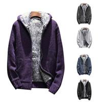 Men Fashion Warm Sweatshirts plus Samt verdicken Male Fashion Knitting Hoodie Sweatershirt Fleece Taschen Coat Street