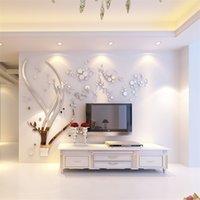 현대 나무 거울 크리스탈 아크릴 벽 스티커 거실 TV 소파 배경 3D DIY 벽 스티커 홈 장식 3D 벽 데칼 201106