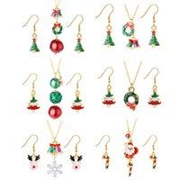 Рождественские ожерелье серьги женские костюмы покрыты золотой леди санта-Клаус снежные ожерелья серьги падение нефтяных ювелирных изделий 4 4LT J2