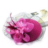 Зимние очаровательные женщины Sinamay Pillbox старинные шерстяные войлочные шляпы сетки цветочные вечеринки Свадьба Федорас с захватывающим цветочным lm007 h jllwtn