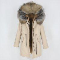 OFTBUY Yeni Su Geçirmez Uzun Parka Kış Ceket Kadın Ceket Gerçek Doğal Fox Rakun Kürk Hood Giyim Ayrılabilir Streetwear 201103