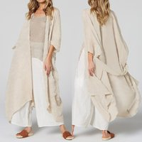 Celmia женщин Длинные блузки Свободные повседневные кимоно кардиганские топы пояса летние пляжные покровные рубашки тонкие пальто Blusas плюс размер 5XL Y200828