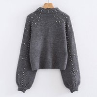 BigSweety Femmes Turtleneck Pulls Perles Perles Pulls Automne Hiver Chaud Lanterne À Manches Femmes Jumper Pull tricoté