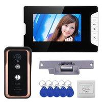 비디오 도어 폰 유선 7 인치 컬러 LCD 전화 인터콤 초인종 시스템 1 모니터 RFID IR-CUT 카메라 + 전기 스트라이크 Lock1