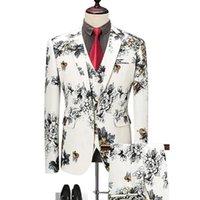 Erkek Takım Elbise Blazers Pantolon Yelek Setleri / Moda Rahat Butik Çiçek Çiçek Baskı Takım Elbise Ceket Kaban Pantolon Yelek 3 Parça