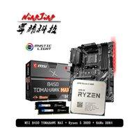 Rams AMD Ryzen 5 3600 R5 CPU + MSI B450 Tomahawk Máquina Motherboard Pumeitou DDR4 2666MHz Socket Socket AM4 Sem Refrigerador