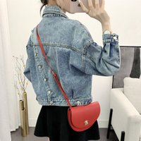 [EWQ] Spring New Full Sleeve Turn-down Collar Loose Women Cowboy Coats Korea Style Plus Size Blue Short Denim Jacket QZ346 200930